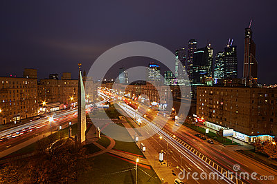 Intersection of Kutuzov Avenue and Large Dorogomilovskaya street Editorial Image