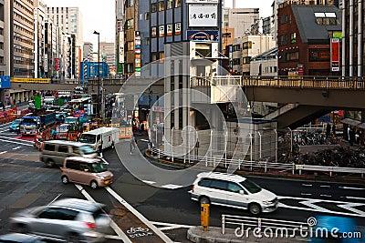 Intersezione occupata a Tokyo Fotografia Editoriale