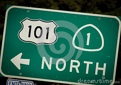 Interstate 101 and PCH highway sign from California
