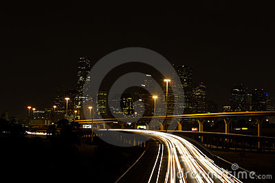Interstate Highways and Downtown City at Night