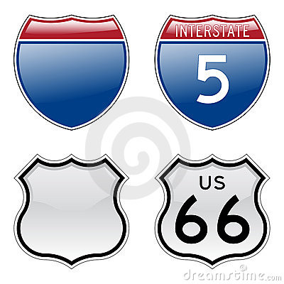 Interstate and US Route 66 signs