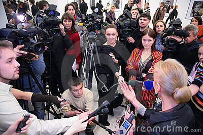 Interview on exhibition Editorial Stock Image