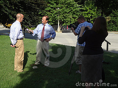 Interview at the National Cathedral Editorial Stock Image