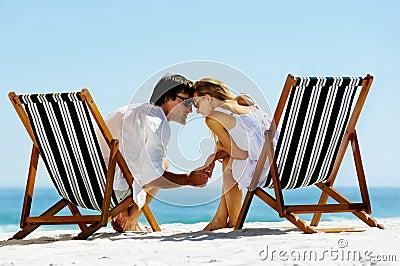 Intimate beach couple
