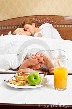 Intimate couple and breakfast