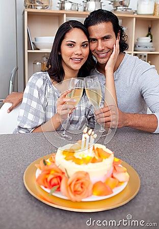Intimate couple celebrating