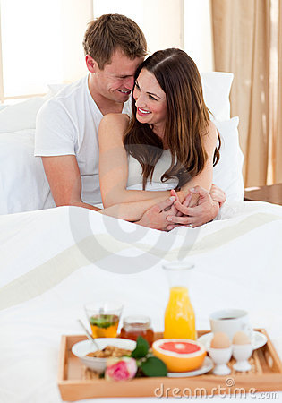 Free Intimate Couple Having Breakfast Lying In Bed Stock Images - 13077364