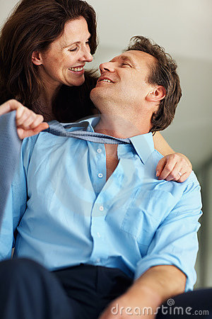 Intimate couple in a playful mood
