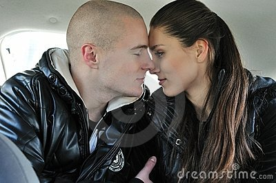 Intimate moments - couple in car