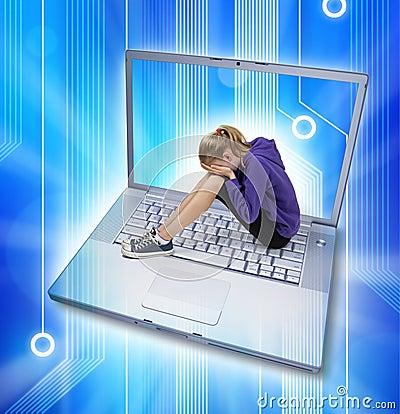 Intimider de Cyber d Internet d ordinateur