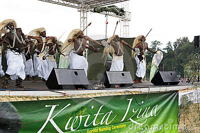 Intore dancers at the Kwita Izina ceremony Editorial Photo