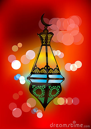 Intricate arabic lamp illustration