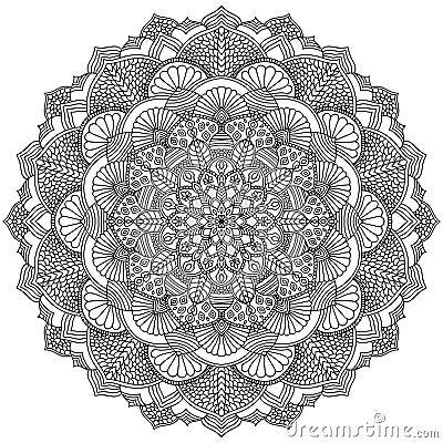Intricate Black Mandala For Coloring Stock Vector Image