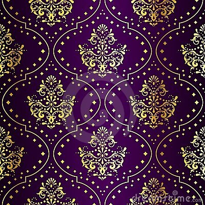 Free Intricate Gold-on-Purple Seamless Sari Pattern Royalty Free Stock Image - 9775496