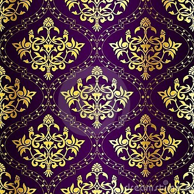 Intricate Gold-on-Purple seamless sari pattern