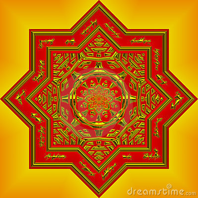 intricate orange mandala