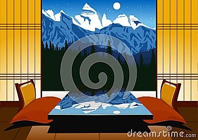 int rieur de kyoto int rieur japonais traditionnel illustration de vecteur image 65828961. Black Bedroom Furniture Sets. Home Design Ideas