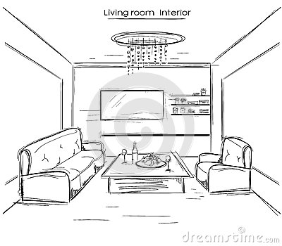 Illustration Stock Intrieur De Salle De Sjour Illustration De Dessin De Main Noire De Vecteur Image73208089 on living room themes