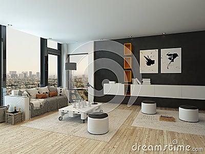 Int rieur de salon avec le mur noir et les meubles for Mur noir dans salon