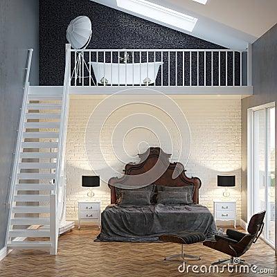 Int rieur de vintage de chambre coucher de grenier avec for Interieur de chambre a coucher