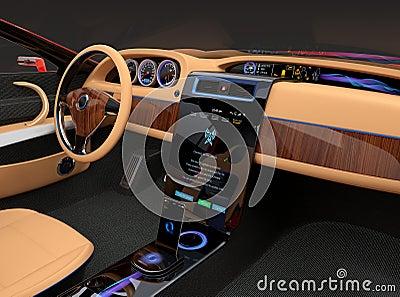 Int rieur l gant de voiture lectrique avec la d coration for Interieur voiture de luxe