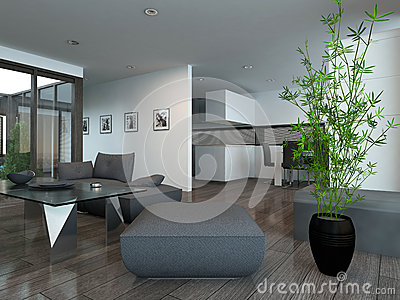 int rieur moderne de salon avec la plante d 39 int rieur illustration stock image 40434493. Black Bedroom Furniture Sets. Home Design Ideas