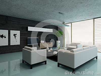 int rieur moderne de salon avec le mur en pierre noir illustration stock image 41136478. Black Bedroom Furniture Sets. Home Design Ideas