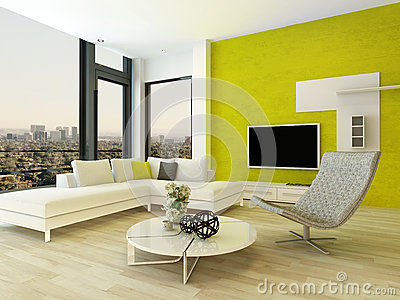 int rieur moderne de salon avec le mur vert illustration stock image 41131649. Black Bedroom Furniture Sets. Home Design Ideas