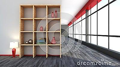Int rieur rouge avec la grandes fen tre et tag re for Grand interieur rouge
