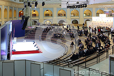 The introductory part of VI International Exhibition Transport of Russia Editorial Image