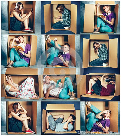 Free Introvert Concept. Collage Of Man And Women Sitting Inside Box Royalty Free Stock Image - 100200146