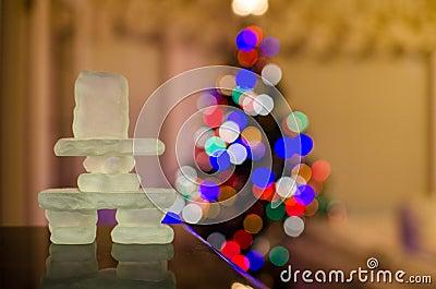 Inukshuk with Christmas lights