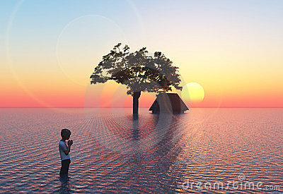 Inundação com criança
