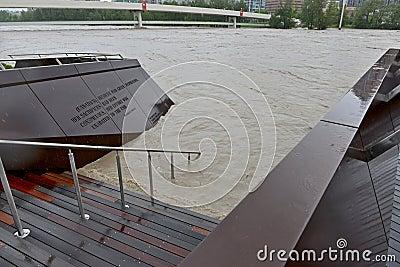 Inundação 2013 de Calgary Foto Editorial
