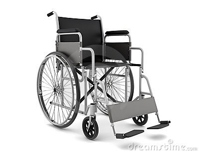 Invalid chair isolated on white background