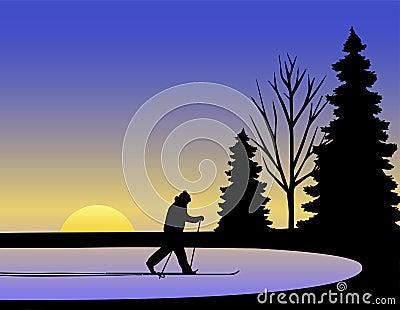 Inverno do esquiador do país transversal/eps