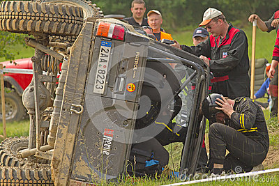 Inverted off-road car on the side Editorial Photography