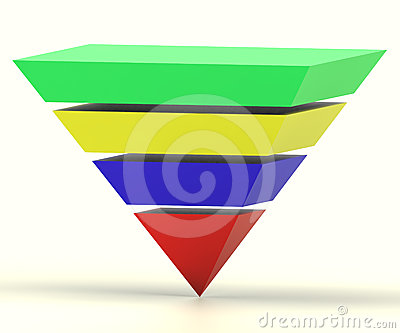 Inverted Pyramid With Segments Shows Hierarchy Stock Photo