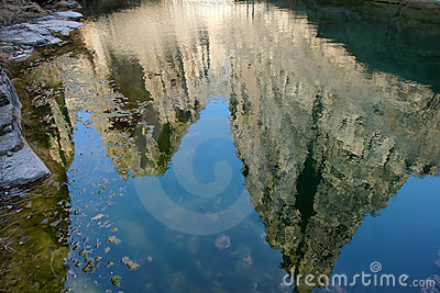 Inverted reflection of mountain