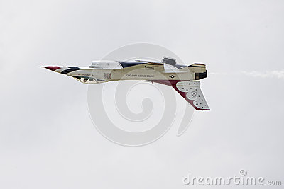 Inverted Thunderbird Jet Over Tinker Air Force Base Editorial Image