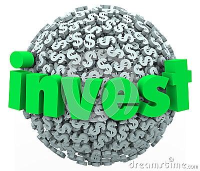 Invest Word Dollar Sign Sphere Stock Market Bond 401K Savings
