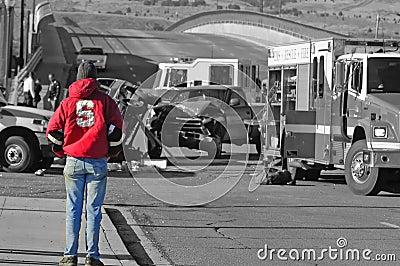 Investigating a car wreck