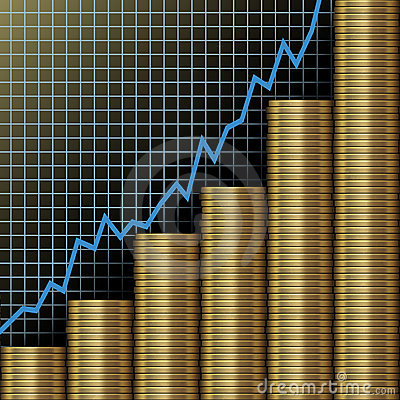 Investment growth wealth gold coins chart
