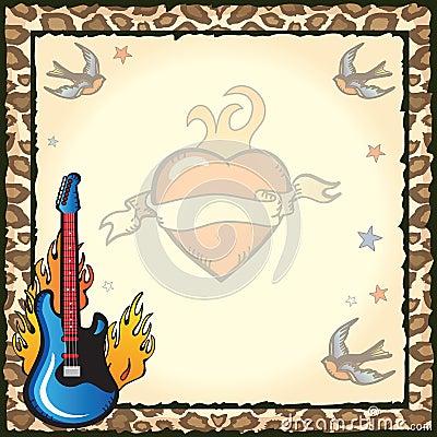 Invitación del partido del tatuaje de la estrella del rock