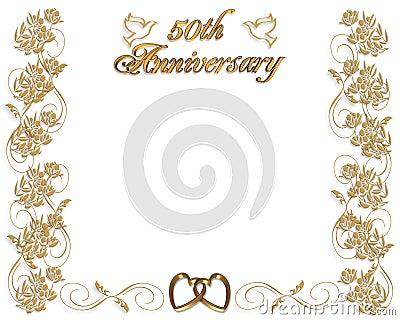 3D ilustró el diseño para la 50.a tarjeta o la invitación del aniversario de boda,.