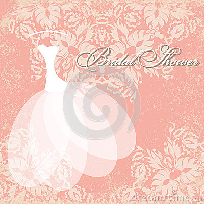 Wedding Gift Separated From Card : Beautiful invitation card with wedding dress on hangers , vintage ...