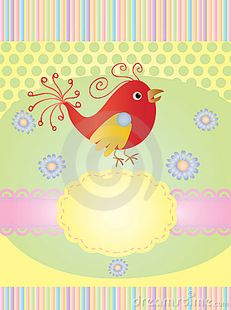 Invitation card with a bird