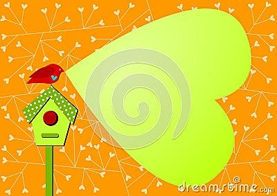 Invitation Card with bird and bubble speech heart