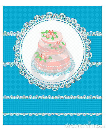 Invitation card with a cake
