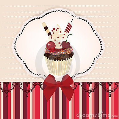 Invitation card with delicious cupcake